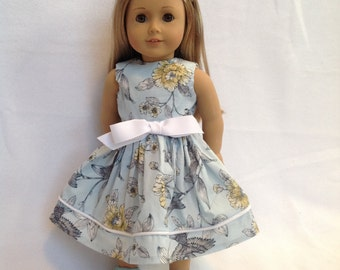 "American Girl Doll (or other 18"" doll) pale blue and yellow dress"