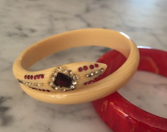 Rare 1930s collectors bakelite snake bangle with ruby and clear rhinestones