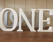 First Birthday Decoration ONE - Set of Three Free Standing Wooden Letters Spelling ONE, 13cm Large Letters, 1st Birthday