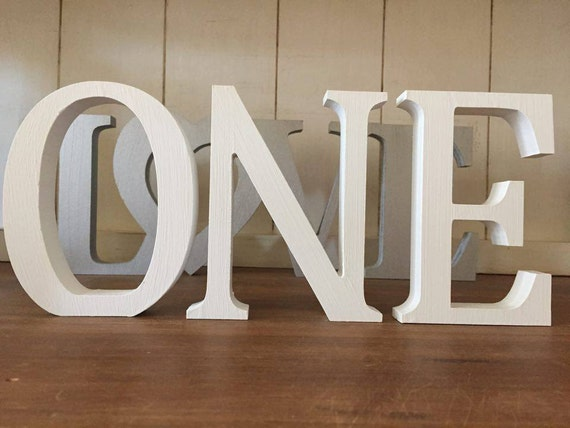 First birthday decoration one set of three free standing for Large freestanding wooden letters