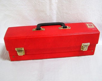 70s Cassettes suitcase MC / Red leather imitation / Foliform