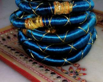 6 solid blue  silk thread wrap bracelet bangle india