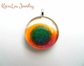Teal Spot Pendant, Glass Tile Pendant, Glass Tile Necklace, Glass Tile Jewelry, Handmade, Unique, Hand Painted, Original Art, Jewelry Art