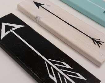 """Wooden Arrows. Set of 3 wood arrows. 12"""" long  Distressed Arrows. Home Decor wood arrows. Hand Painted and distressed Arrows. Home Decor"""