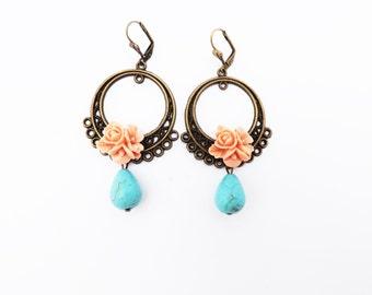 Antique Bronze Mexican Folk Frida Kahlo Dangle Earrings