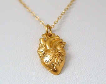 Anatomical heart necklace vintage anatomy heart antique silver and bronze pendant jewelry for men and women