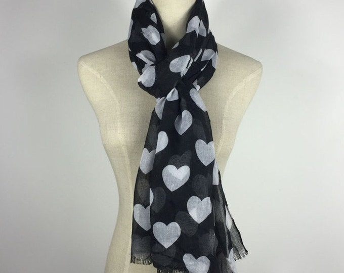 Christmas Gifts Black Scarf Heart Scarf Black White Scarf Black Shawl Gifts For Her Hearts Scarf Black Hearts Scarf Teen Scarf Fall Scarf