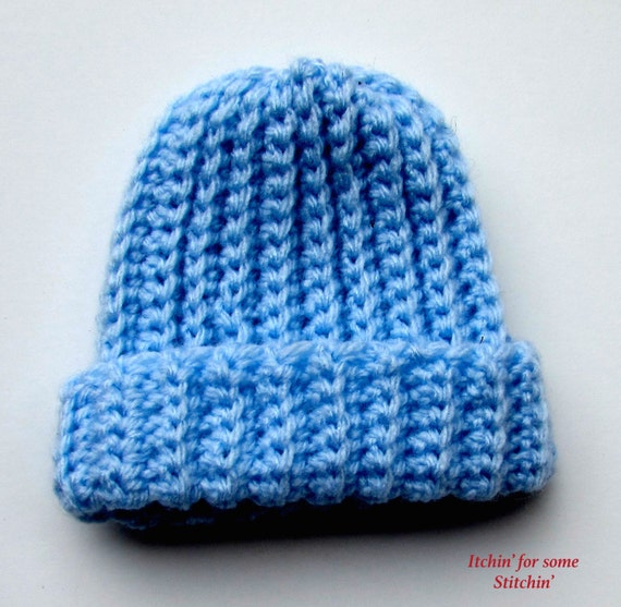 Crochet Beanie Pattern Ribbed : Items similar to Pattern: Basic Crochet Ribbed Baby Beanie ...