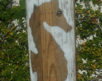 Seahorse recycled wood sign, coastal decor, natural wood seahorse.