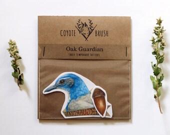 Oak Guardian Temporary Tattoos: Western Scrub Jay, Acorn