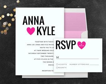 Instant Download Wedding Invitation Templates - Modern Wedding Invitation Set