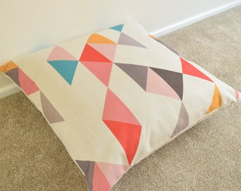 "Multi Coloured Geometric/Scandinavian Cotton Linen Cushion/Pillow Cover in 26"" x 26"""