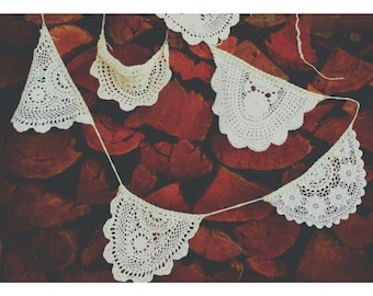 crochet doilie wedding bunting, 6 flags