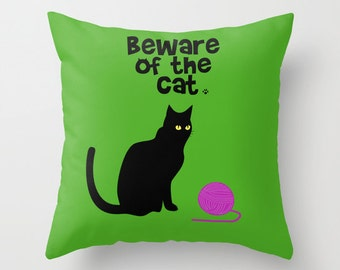 Beware of the cat pillow cover-Black Cat-Animal-Pets-Funny-Green cushion-Cat lover gift-16x16 pillow-18x18-20x20-Etsy gift-Modern pillow