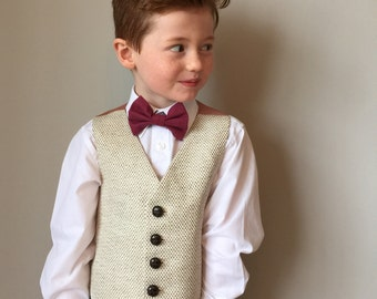 Boys waistcoat handmade in a soft fawn and cream houndstooth by Fred's Finery's  'Romeo'