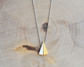 Two Tone Triangle Necklace in Sterling Silver 925, Geometric Necklace, Geometric Jewelry, Triangle Necklace, Sterling Silver 925 Necklace