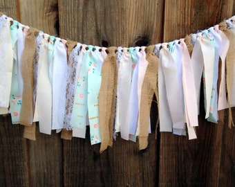 Pink & Blue Rag Tie Garland, Shabby Chic Rag Tie Garland, Fabric Banner, Rag Tie Banner, Tea Party Decor, Birthday Decor, Nursery Decor