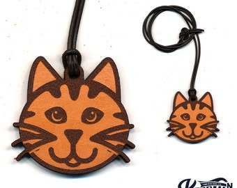Laser Cut Leather Necklace and Keychain Kitty Cat