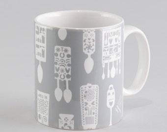 Welsh Lovespoon Mug - Grey