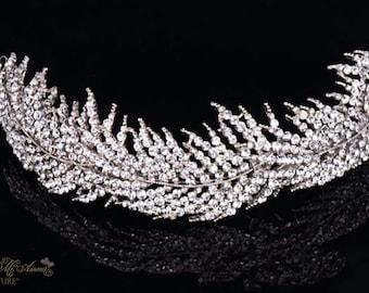 Silver Crystal Headpiece ETERNAL BLISS, Luxury Wedding Headpiece, Couture Bridal Headpiece, Wedding Headband, Bridal Accessory, Tiara, Bride