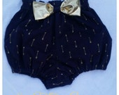 Bloomers Navy Blue with Gold Metallic Arrows featuring a shiny gold bow available in sizes 0-3 to 5T