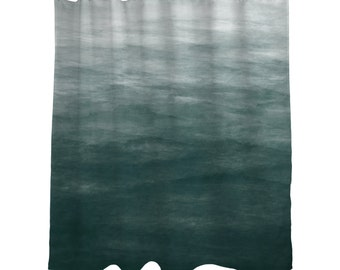 "Dark Teal Green Ombre Watercolor Shower Curtain/  Bath Curtain/ Standard Length (71""x74"" ) Made To Order"