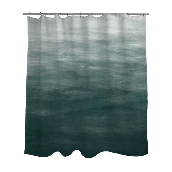 Dark Teal Green Ombre Watercolor Shower Curtain Bath