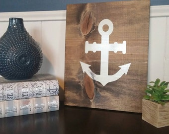 Anchor Rustic Wood Sign - Wood Wall Art - Nautical Home Decor