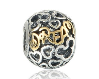 silver charm sterling silver charms beads fits authentic Pandora and European charm bracelets dream