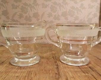 Vintage sugar bowl & creamer