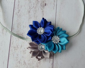 Pinwheel Flower Headband 6-12 months,  Ready to ship, Ribbon Flowers, Infant headband, Baby pictures, Photo Prop