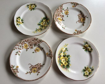 Set of Four Mismatched Side/Dessert Plates. Two Gainsborough Bone China. Two B.J. Grafton Bone China. Made in England. Pretty Floral Design.