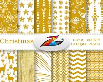 Labor Day Sale Digital paper Christmas Background Gold Christmas digital paper commercial use snowflakes pattern christmas scrapbook paper