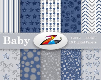 Sale Digital Paper commercial use Baby boy digital paper Baby Shower Newborn Digital Paper star pattern blue grey Background