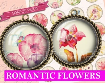 """Romantic flowers - digital collage sheet - td1 - 1.5"""", 1.25"""", 30mm, 25mm, 1 inch circles - Jewelry Making, Scrapbooking, Crafts"""