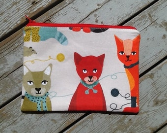Modern Cat Print Zipper Pouch/Andrea Lauren Print Spoonflower/Yarn/Knitter Gift/Cats Wearing Scarves and Boots/Cat Lady Gift/Accessory Bag