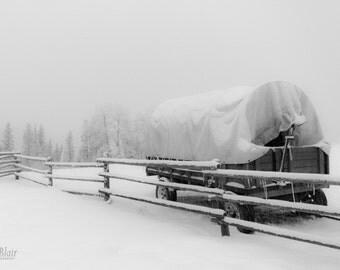 Winter Landscape Snow Covered Wagon Black and White Photograph  - Fine Art Print