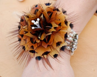 EMMA, Wrist Corsage, Feather Corsage, Wedding Pin, Wedding Boutonniere, Groom Lapel Pin, Feather Hat Pin, Pheasant Feather, Feather Brooch
