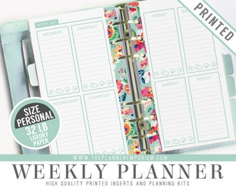 Personal Weekly Planner Inserts (PRINTED) - LAYLA Collection - Kikki K Medium Filofax Personal Paper - Hole Punch Optional - Cover Optional