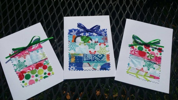 Set of 3 Handmade Present Christmas Cards/Fabric Scrap Christmas Cards/Handmade Holiday Cards/Handmade Greeting Cards/Blank Christmas Card