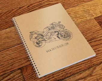 Motorcycle Notebook - A5 | Motorcycle Journal  | Motorbike Notebook | Workshop Notebook | Suzuki GSXR-1000