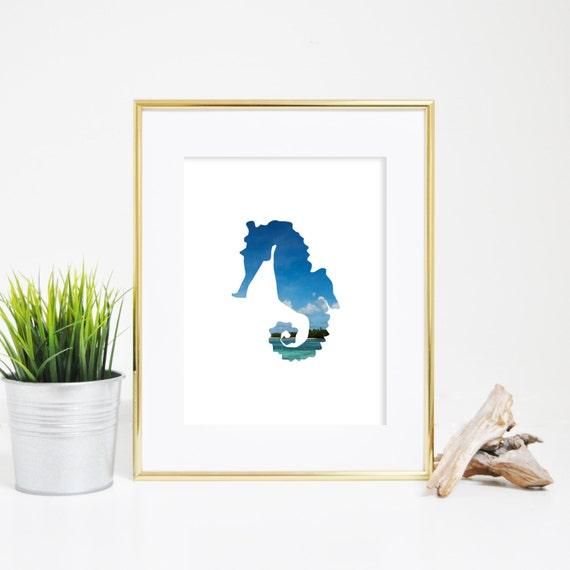 Seahorse Wall Art, Digital Prints, Tropical Wall Art, Nursery Printable Seahorse Print Beach House Decor, Downloadable Print, Tropical Print