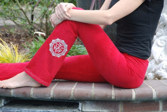 Red Yoga Pants Hand Dyed from The ArtiZan Collection with Optional Hand Painted Design by Splash Dye Activewear