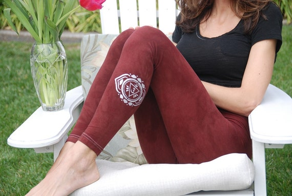 Tall Brown Hand Dyed Yoga Leggings with Optional Hand Painted Chakra Design including Extra Long and Plus Sizes by Splash Dye Activewear