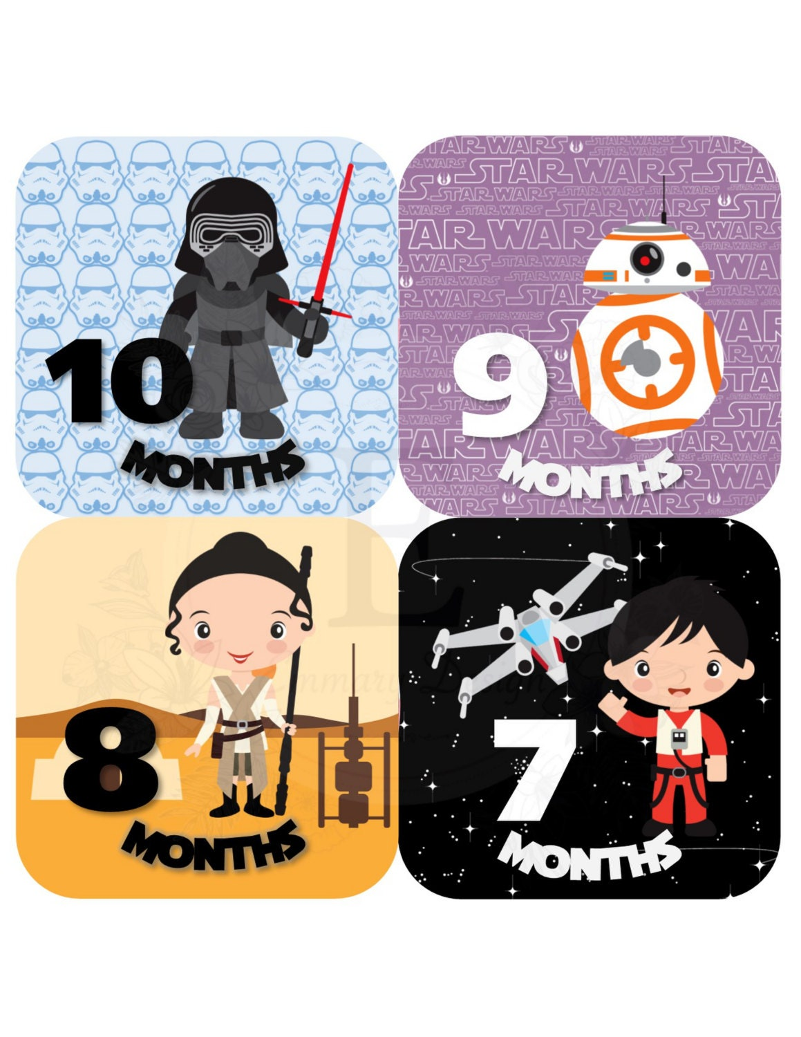 Star Wars Month Stickers Baby Girl Monthly Stickers