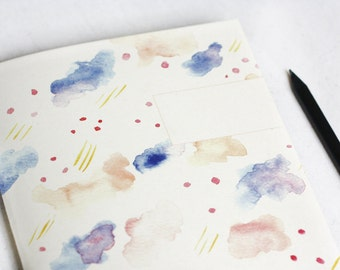Notebook watercolour pattern, colourful clouds, abstract notebook
