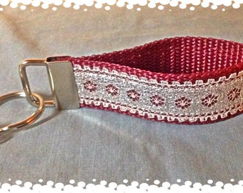 1 Inch Wide Bling Pattern Grosgrain Pattern Key Chain with Charm