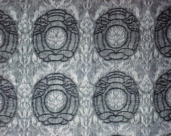 Jacquard No.2-Cotton Woven Yarn Dyed-Grey Color-Garment supply-Handcraft material-Multi purpose supply-2Y10Cm.