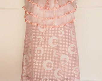 Vintage 60s Nightgown Short Nightgown Unique pink Nightgown 60s with dots and volants