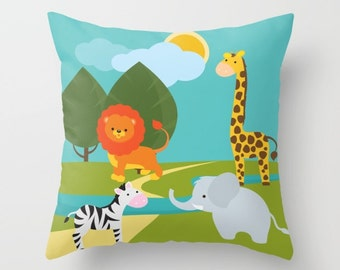 Nursery Pillow , Jungle Animals Pillow , Throw Pillow , Animals Pillow , Giraffe Elephant Lion Cushion , Kids Pillow , Baby Shower Gift